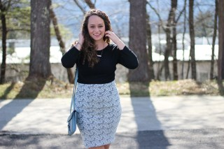 LuLaRoe Cassie Skirt and Rose Gold Toms