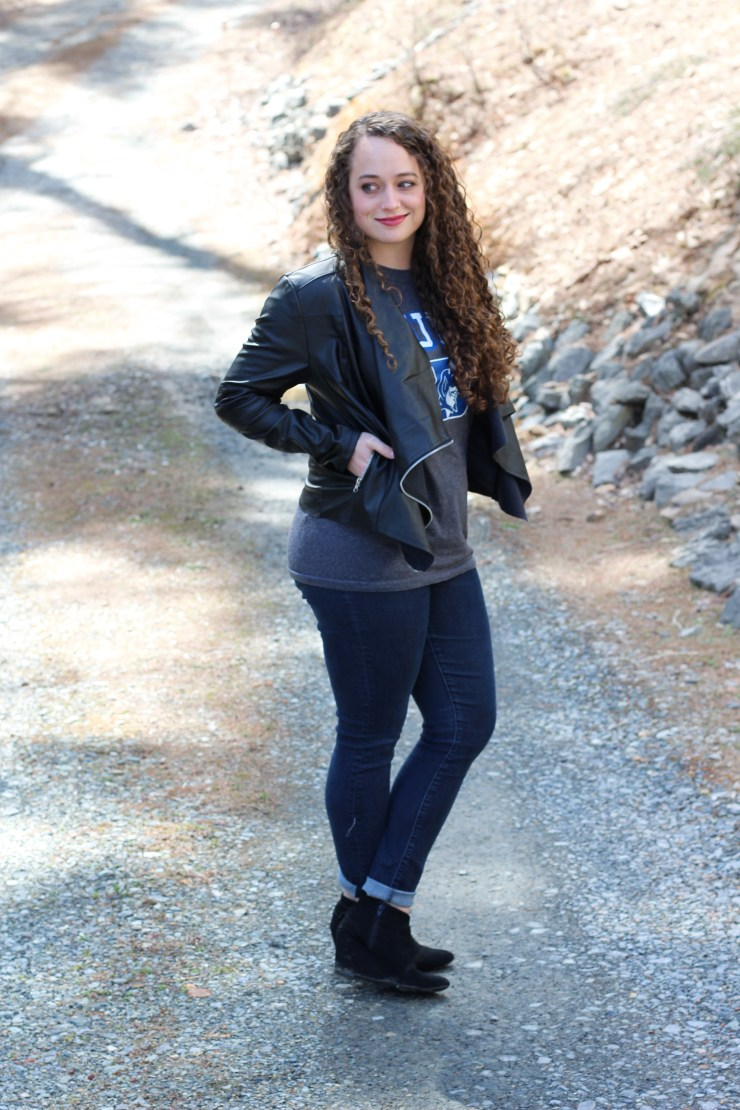 ncaa march madness outfit with leather jacket and black wedges