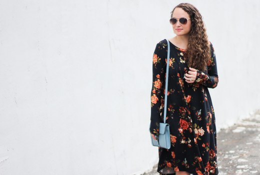 black floral dress, spring style, fall style