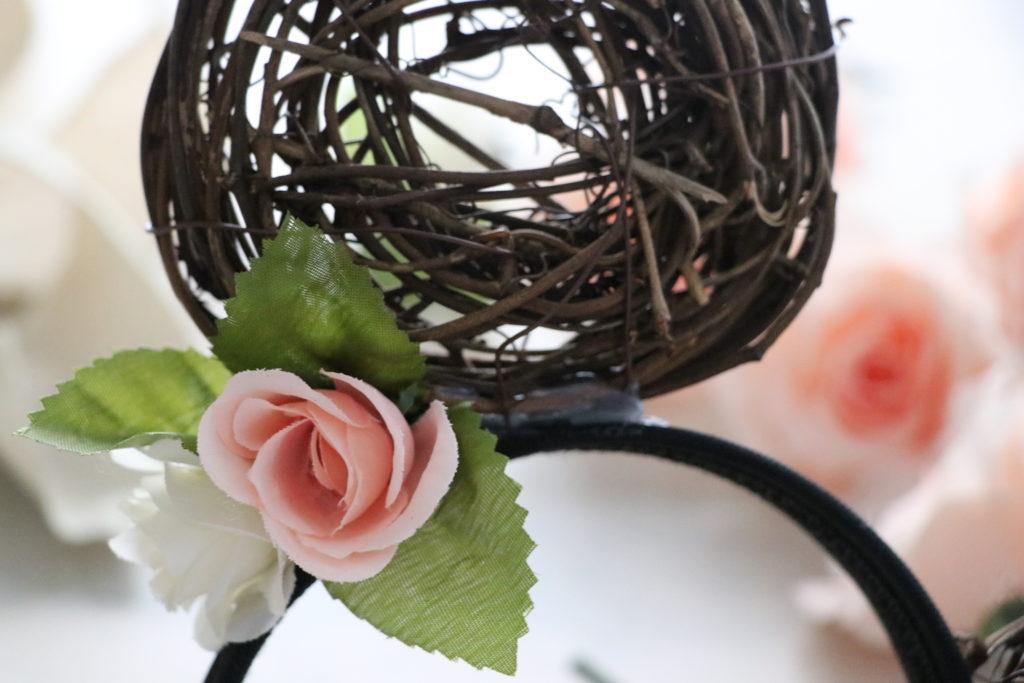Glue flowers to floral Minnie headband