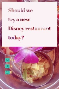 Of course we want to try a new Disney Restaurant!