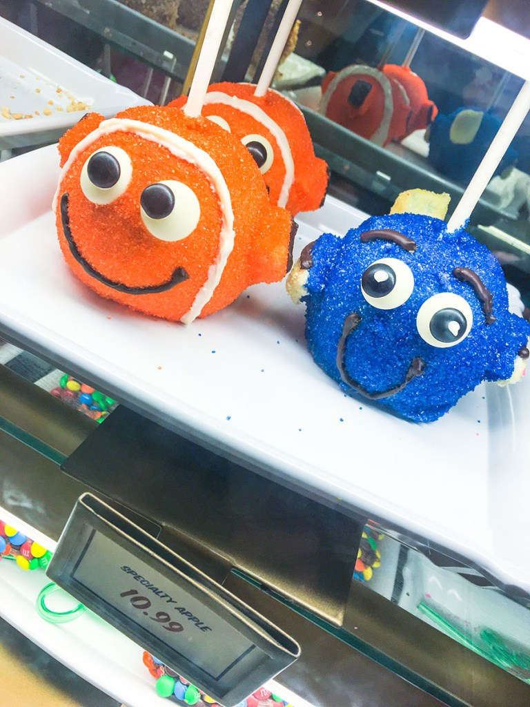 Candy apples shaped like nemo characters at Disney World!