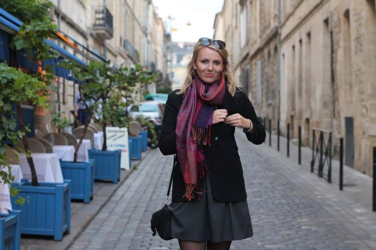 robe mademoiselle R, veste mango, echarpe, sac à main, bordeaux, chaussures bocage 11