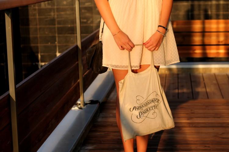 robe rose pale dentelle plumetis vero moda starbuck, paulette magazine ambassadrice tote bag mango sac 8