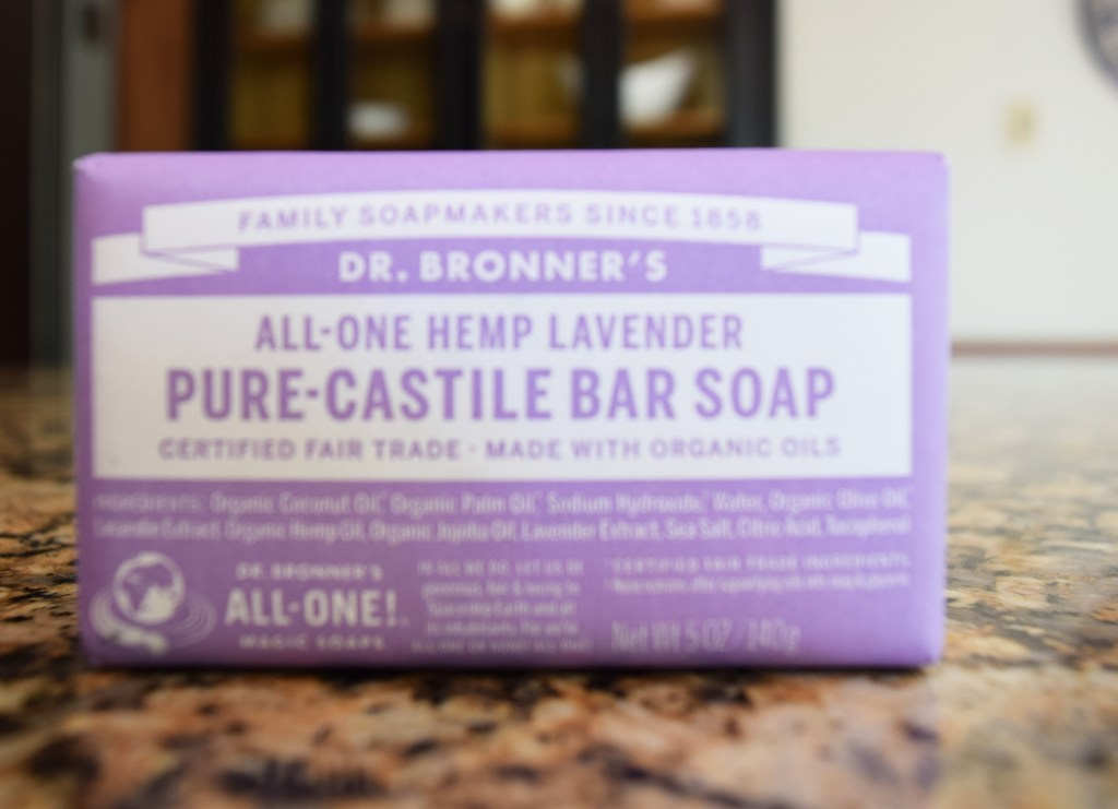 Dr. Bronner's pure castille bar soap for homemade laundry detergent