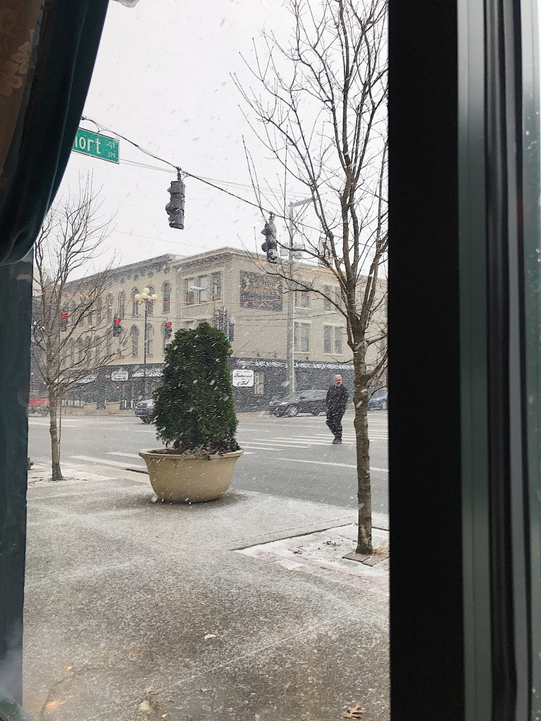 Snowing downtown in Lexington, KY