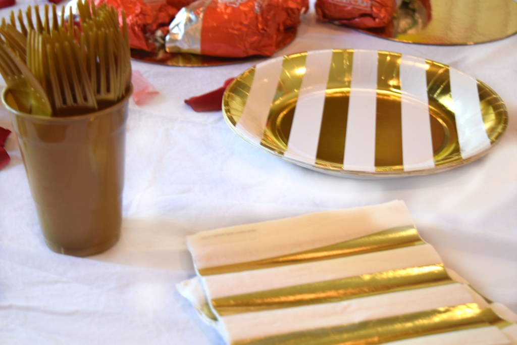 Gold and White Plates and Napkins for a Beauty and the Beast Birthday Party - DarlingSouth.com