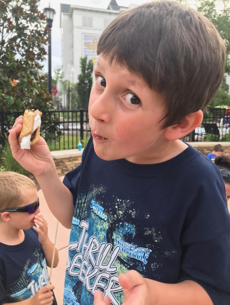 Enjoying s'mores fireside at Dollywood's Dreammore Resort - Pigeon Forge, TN / Summer recap on Darling South