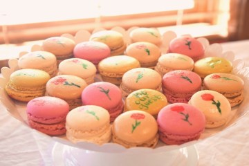 Painted macarons for a Beauty and the Beast party