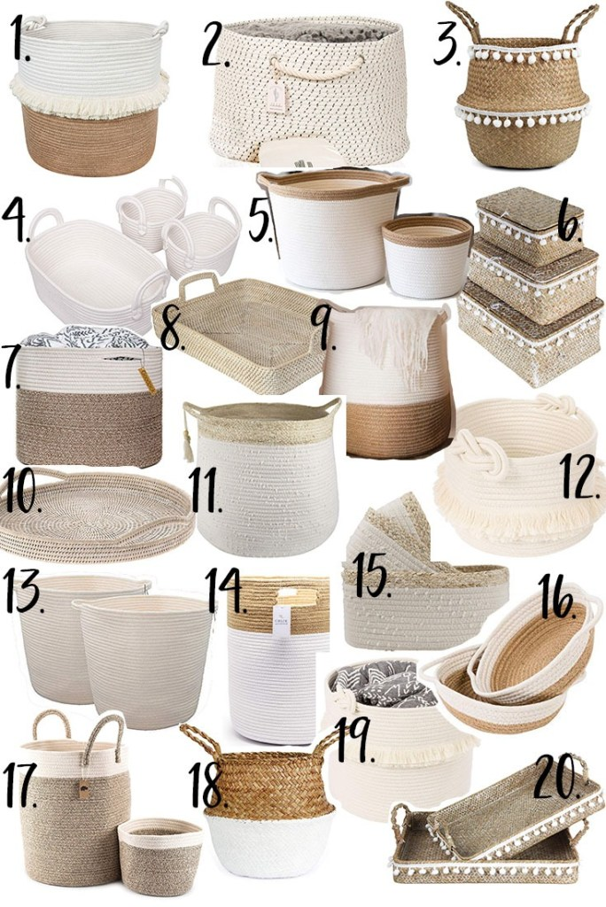 A collage of baskets for organizing your home.