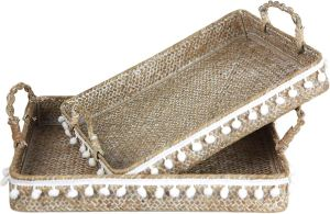 natural grass tray set with pompom trim on the edges