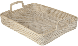 White washed rattan serving tray