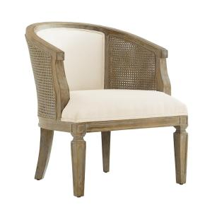 cane side upholstered barrel arm chair