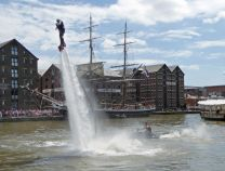 Flyboarding display with Morgenster behind