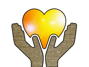 hands lifting yellow heart
