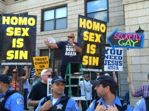 Chicago Police in front of the anti-gay protesters at Chicago's Pride Parade 2015