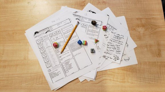 Character sheets and notes to show you how many forms I've filled out for fun.
