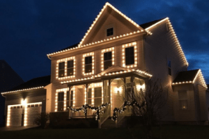 beautiful house with warm white super bright Christmas Lights