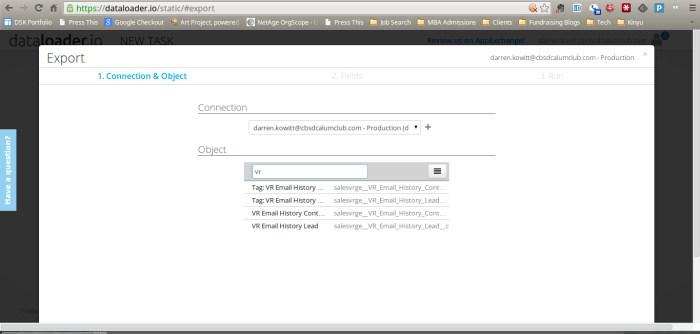 Dataloader Vertical Response Export ss