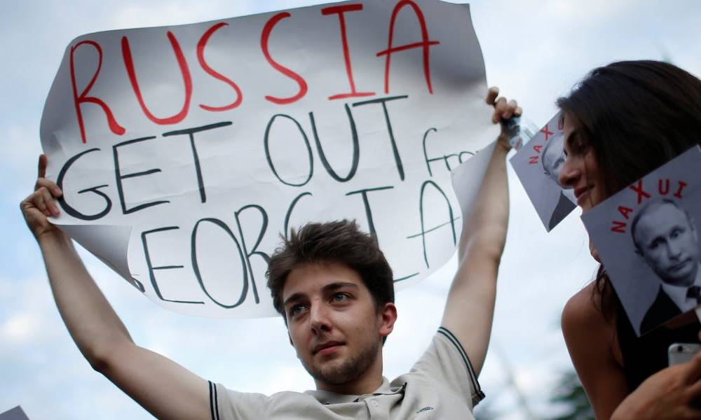 Russia has bullied Georgia and quietly seized territory for a decade. Its new leader vows to stand up to Moscow, and just got a boost from Congress.