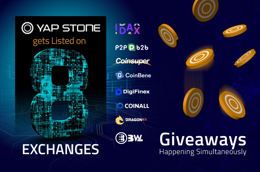 Crypto Yap Stone Gets Listed on 8 Exchanges, Giveaways Happening Simultaneously