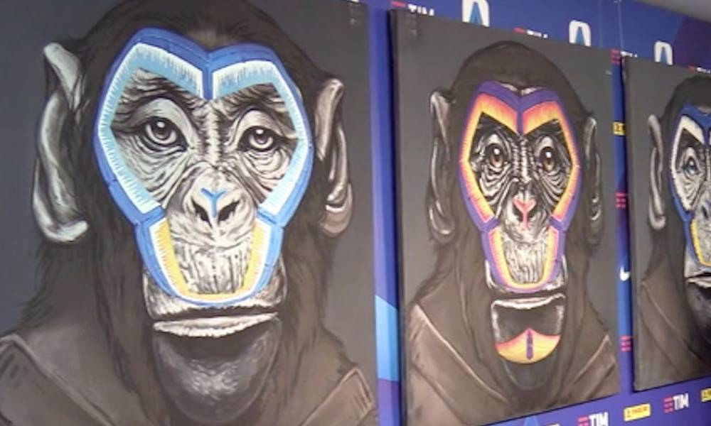 The Italian football league has launched a bizarre anti-racism campaign using 3 paintings of different coloured monkeys to show that 'we are all the same race'
