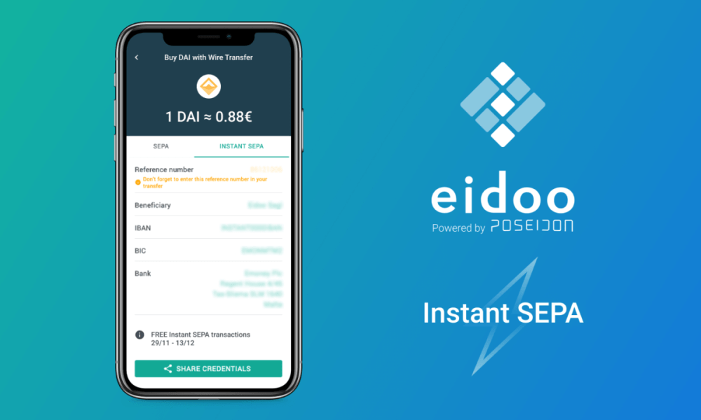 Crypto Eidoo Platform Launches Instant SEPA for Instant Crypto Purchases with Euros