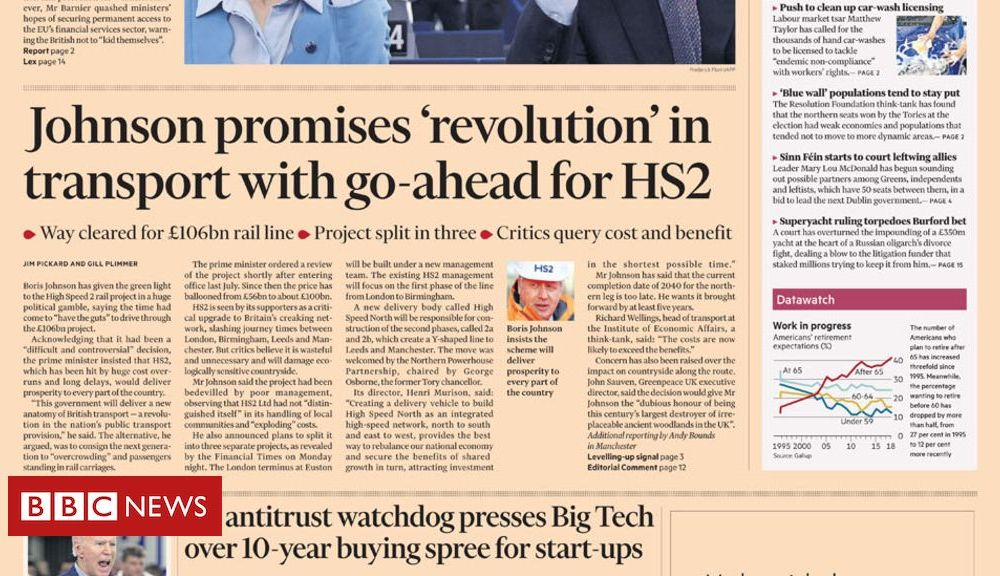 The Papers: HS2 'gamble' and Storm 'Dennis the Menace'