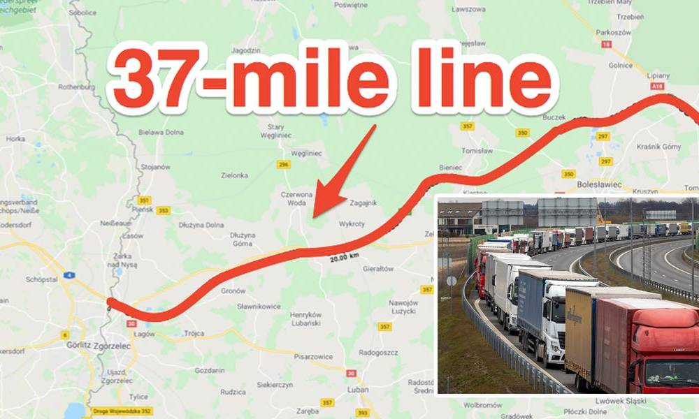 Trucks are forming 37-mile-long queues at European borders after authorities started closing them to stop the coronavirus spread