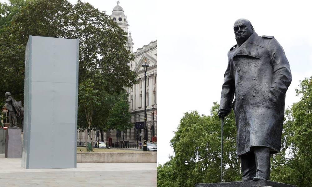 London covered a statue of Winston Churchill outside parliament with a metal box after it was spray-painted with the word 'racist' in mass protests