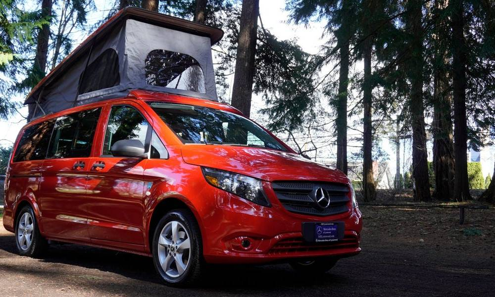 This $67,511 pop-top camper van built in a 2020 Mercedes-Benz minivan has two separate beds —see inside the 'Backroad'