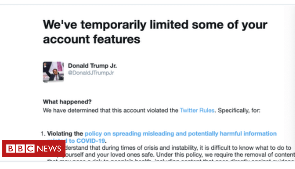 Trump Donald Trump Jr suspended from tweeting after Covid post