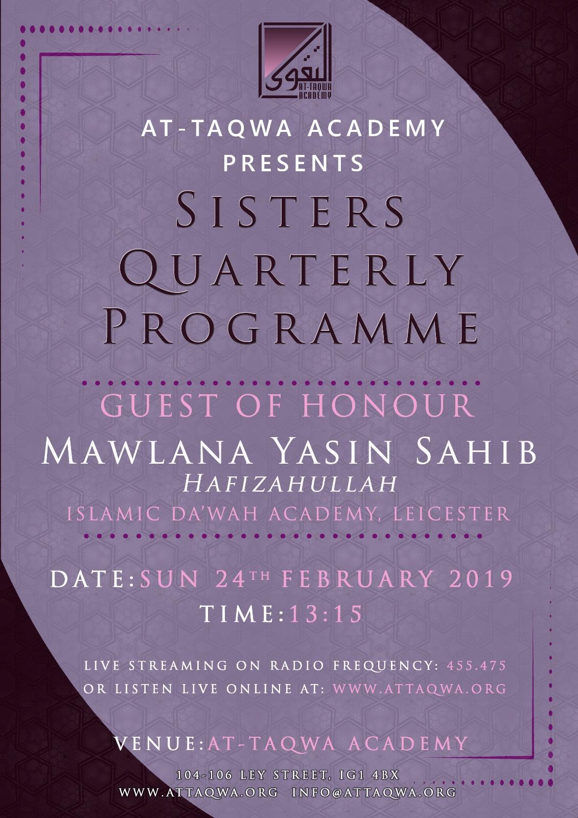 Sisters Quartlerly Programme at AT-Taqwa