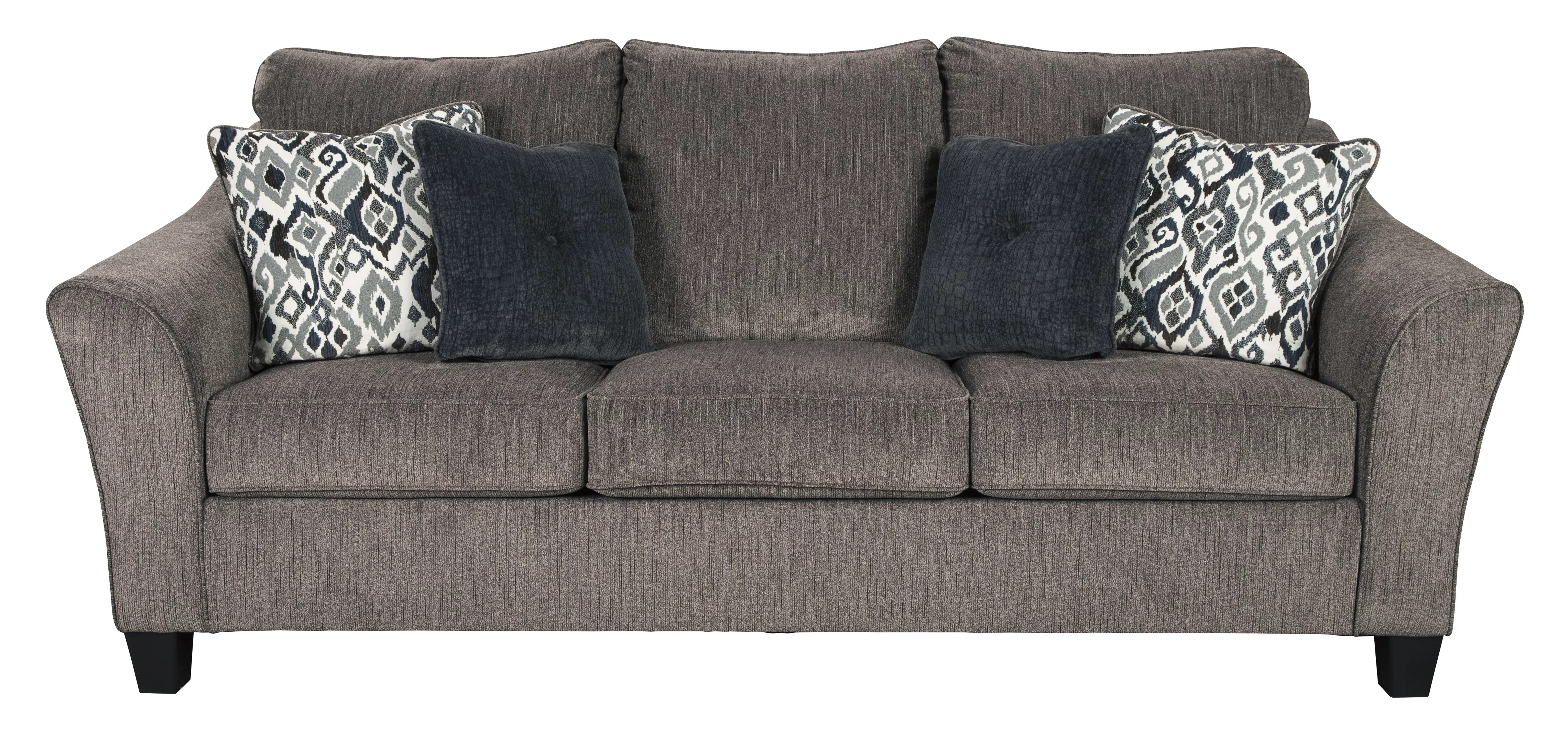 The Nemoli Sofa sets the scene for a modern space full of casual flair with its flared arms. Its textured chenille with solid microfiber upholstery provides a luxuriously soft feel that's inviting.