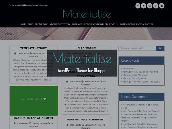 Materialise- Free WordPress Theme