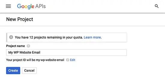 Google API new project