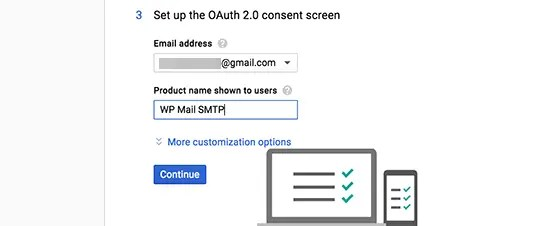 Setting consent screen in google API