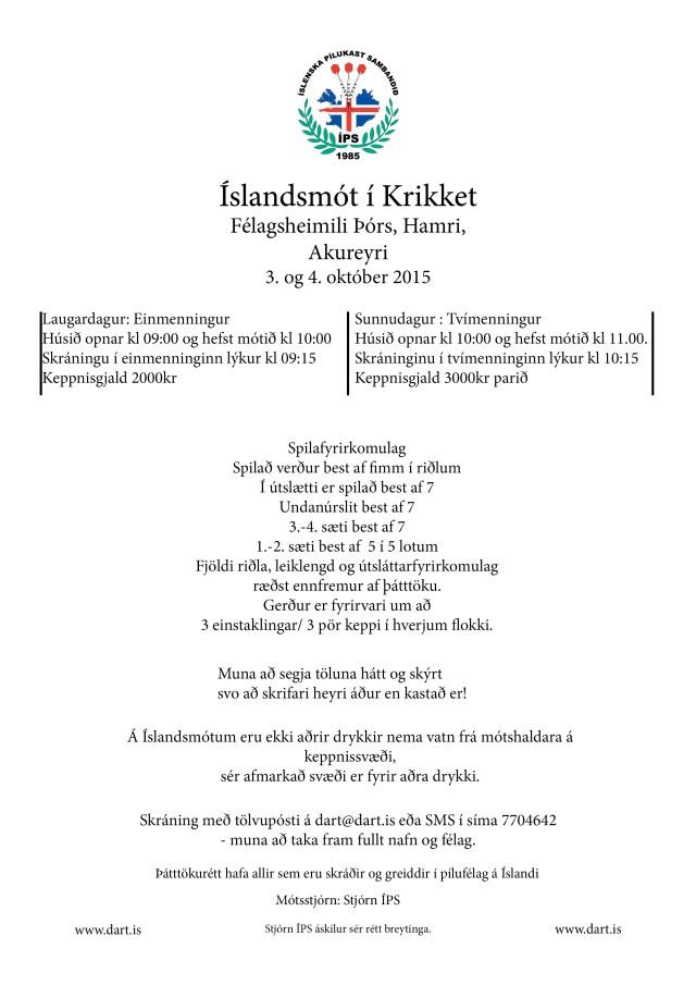 Íslandsmót í Krikket 2015