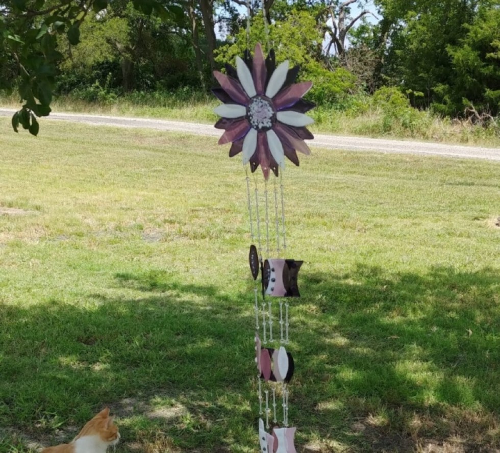 Purple and White Fused Glass Wind Chime