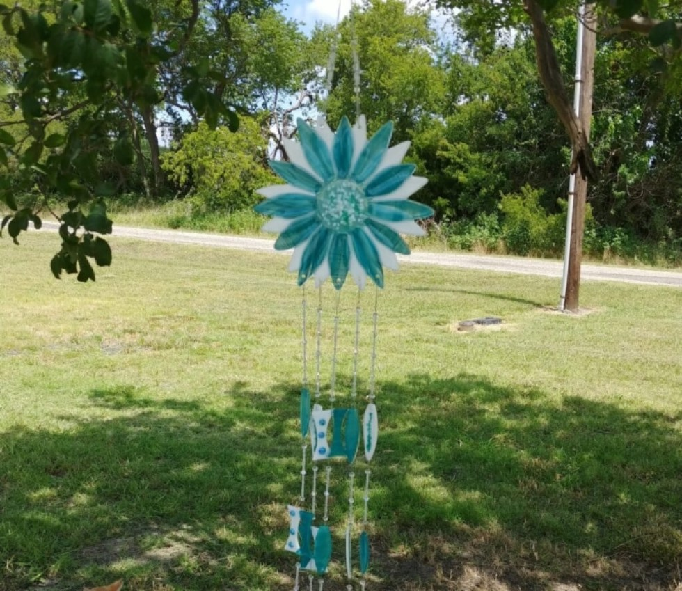 Teal and White Wind Chime