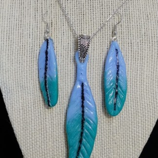 Blue and Teal Feathers Pendant and Earring Set