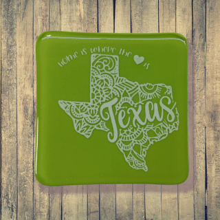 Green state of Texas fused glass coaster. Handcrafted by DarteGlass, a woman owned business.