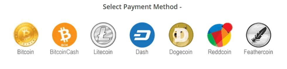 logos of dash, reddcoin, bitcoin, bitcoin cash, dogecoin, litecoin