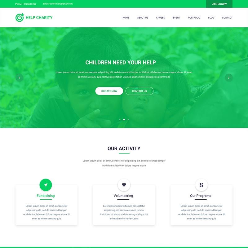 Charity Home – PSD Template