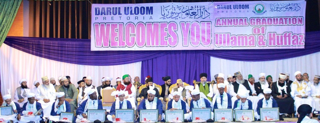 Graduates & Scholars on stage from around the world at Darul Uloom Pretorias' Annual Graduation 2015