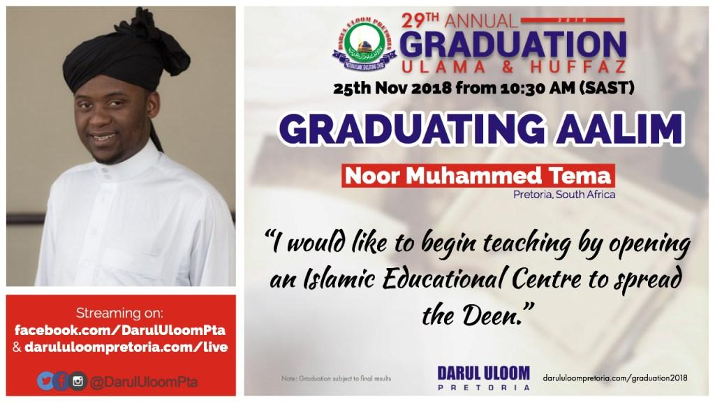 Noor : Graduating Aalim from Darul Uloom Pretoria in 2018