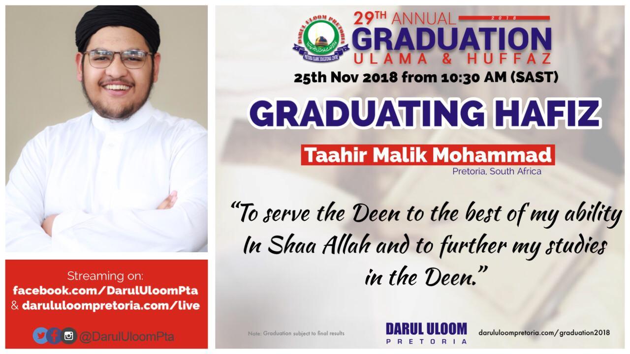 Taahir  : Graduating Hafiz from Darul Uloom Pretoria in 2018