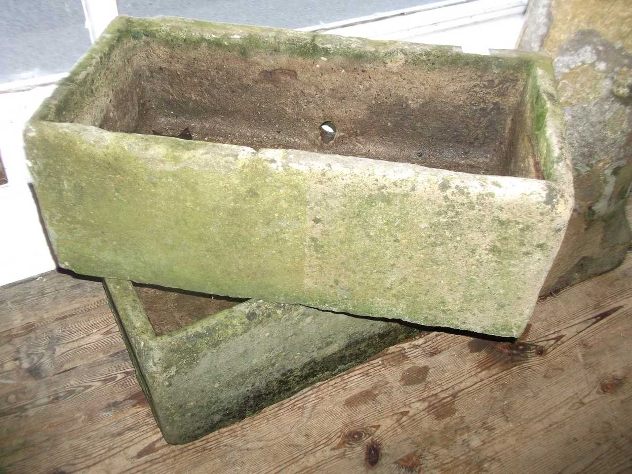 Pair Stone Garden Troughs MW Darwin And Sons