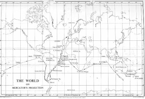 fig 2 simplified route of the voyage of the beagle