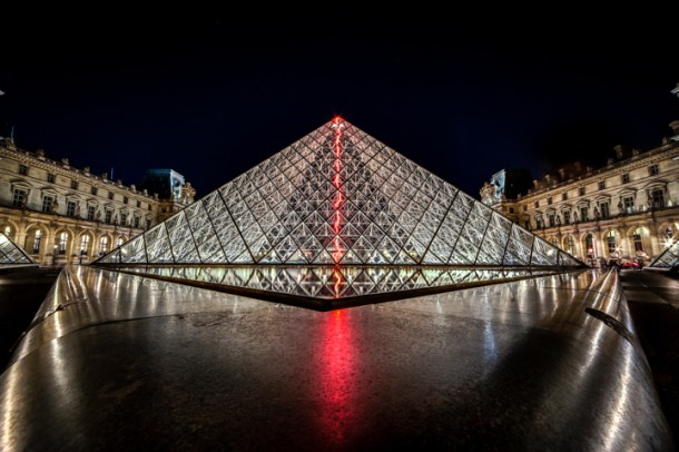 Best places to take pictures in Paris - Louvre - Neon and Glass. Taken with a Canon 6D and Rokinon 14mm f/2.8